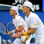 Peter Luczak with Hewitt at the Australian Open. 2012 Picture: Lucy Di Paolo