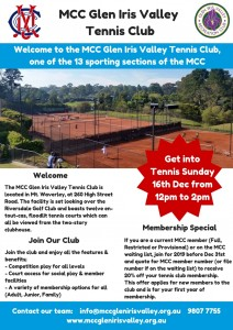 MCC Glen Iris Valley Tennis Club Information Dec 2018